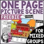 Fire Station One Page Picture Scene for Mixed Groups Articulation Language by Stacy Crouse